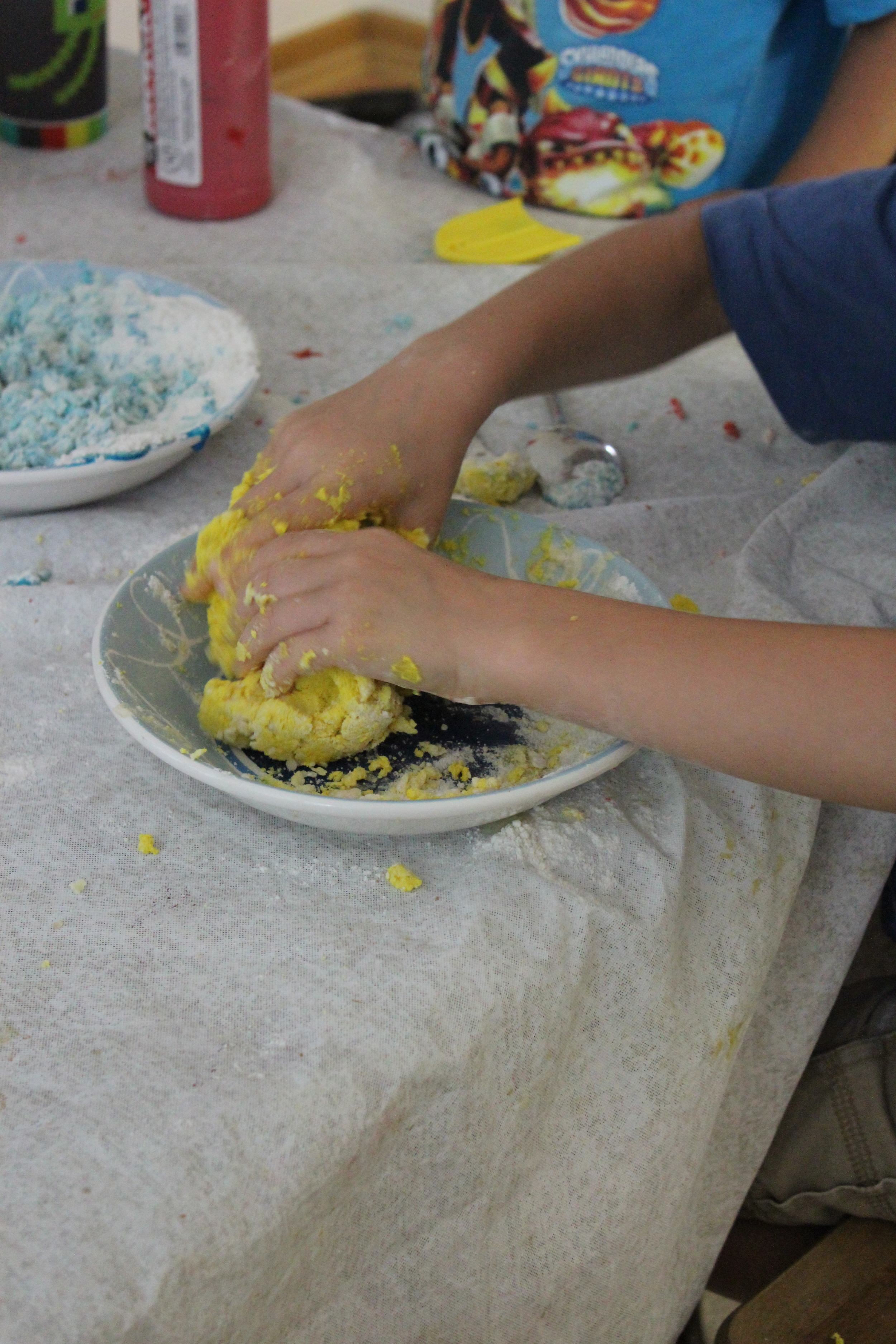 Working the ingredients into dough.
