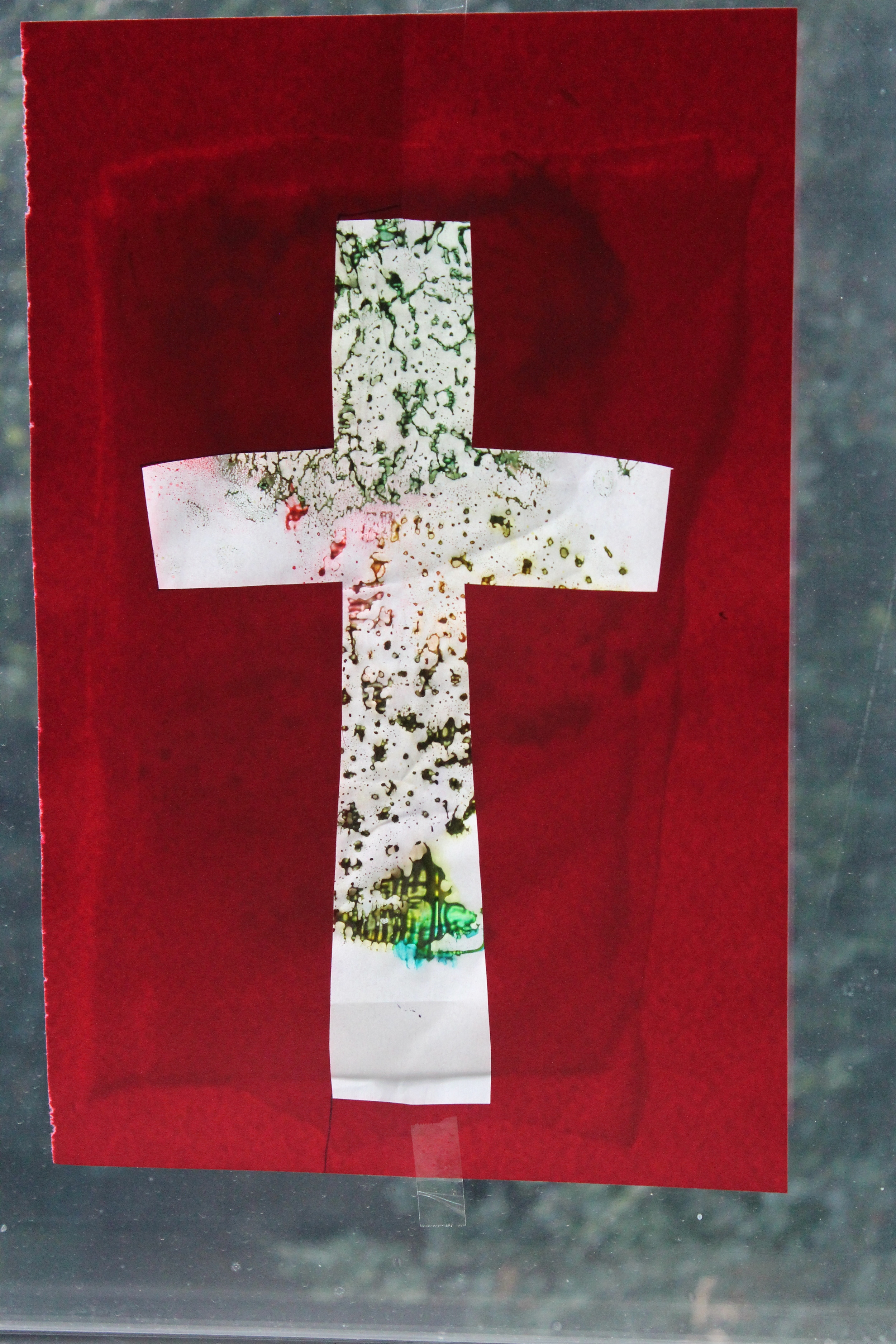"""Finished product- our """"stained glass"""" cross"""