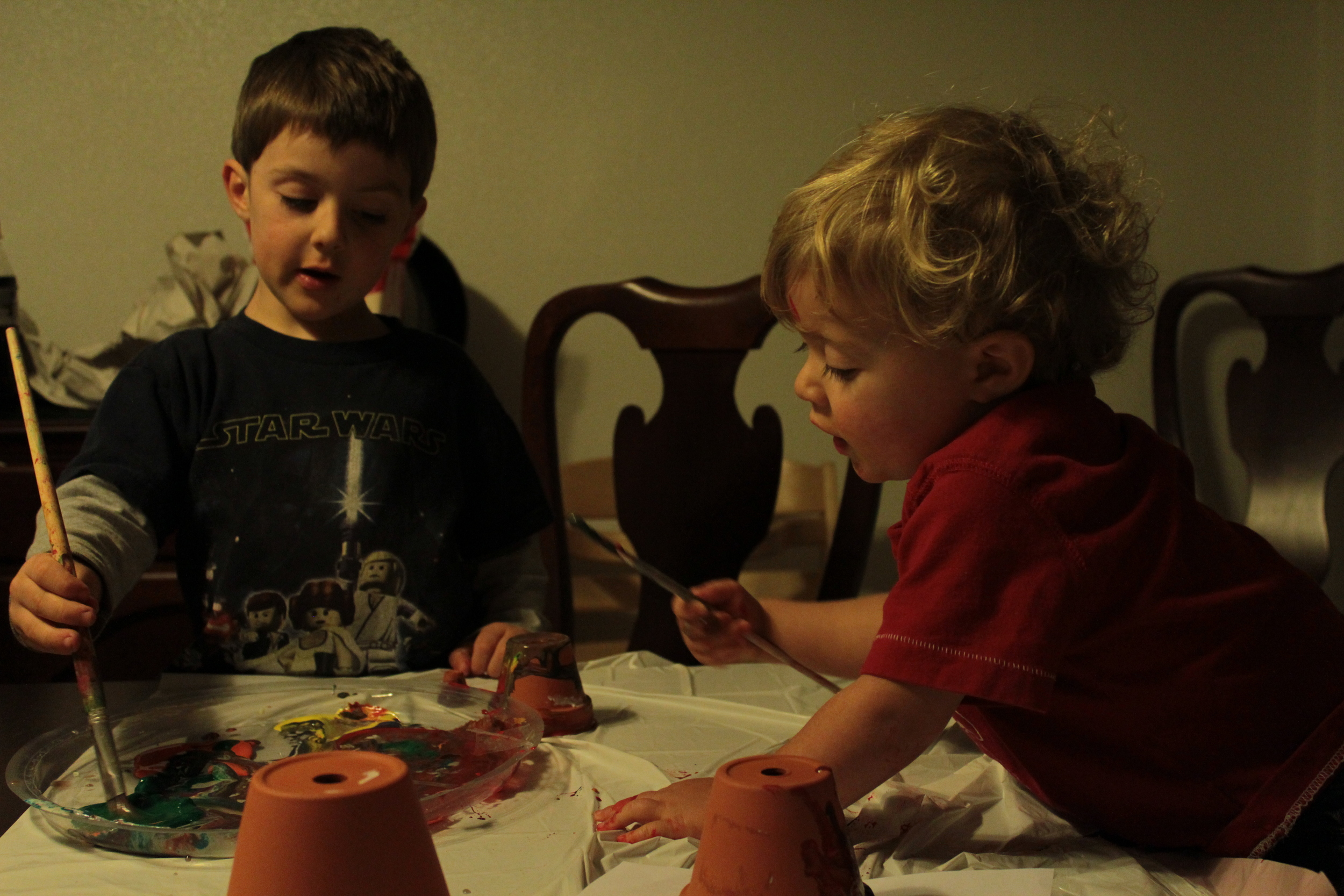 The little guys getting artsy.