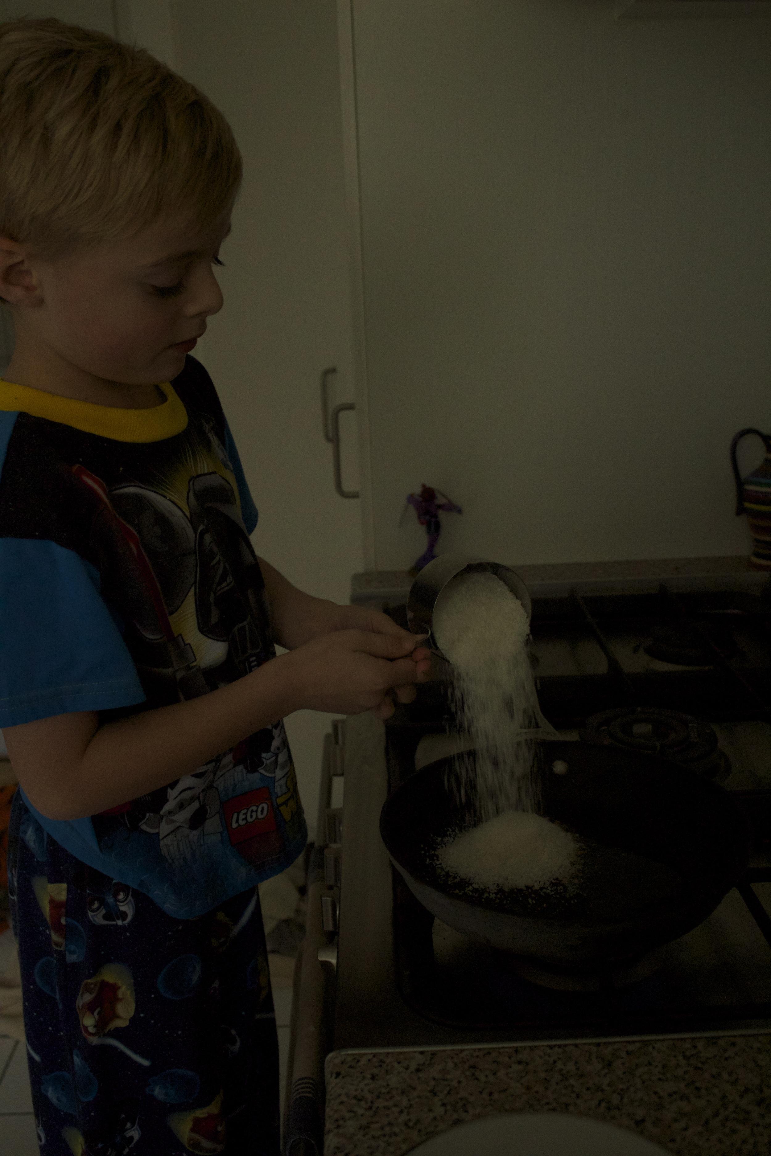 Adding in the coconut