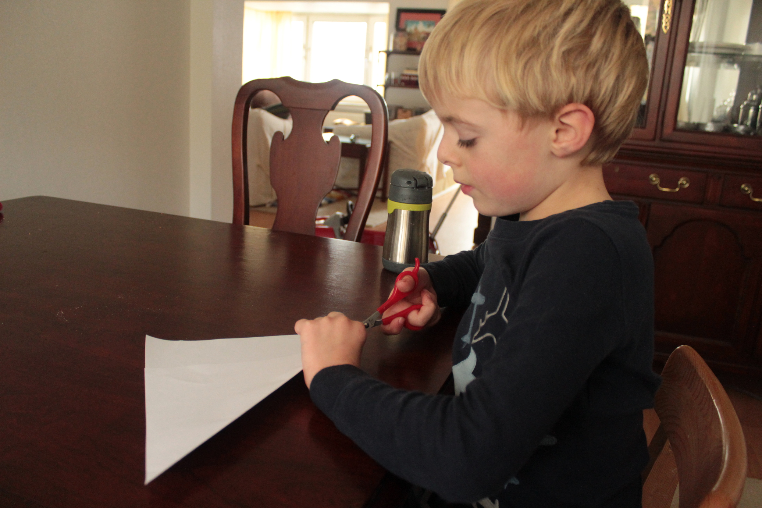 Fold a piece of paper to make a square.