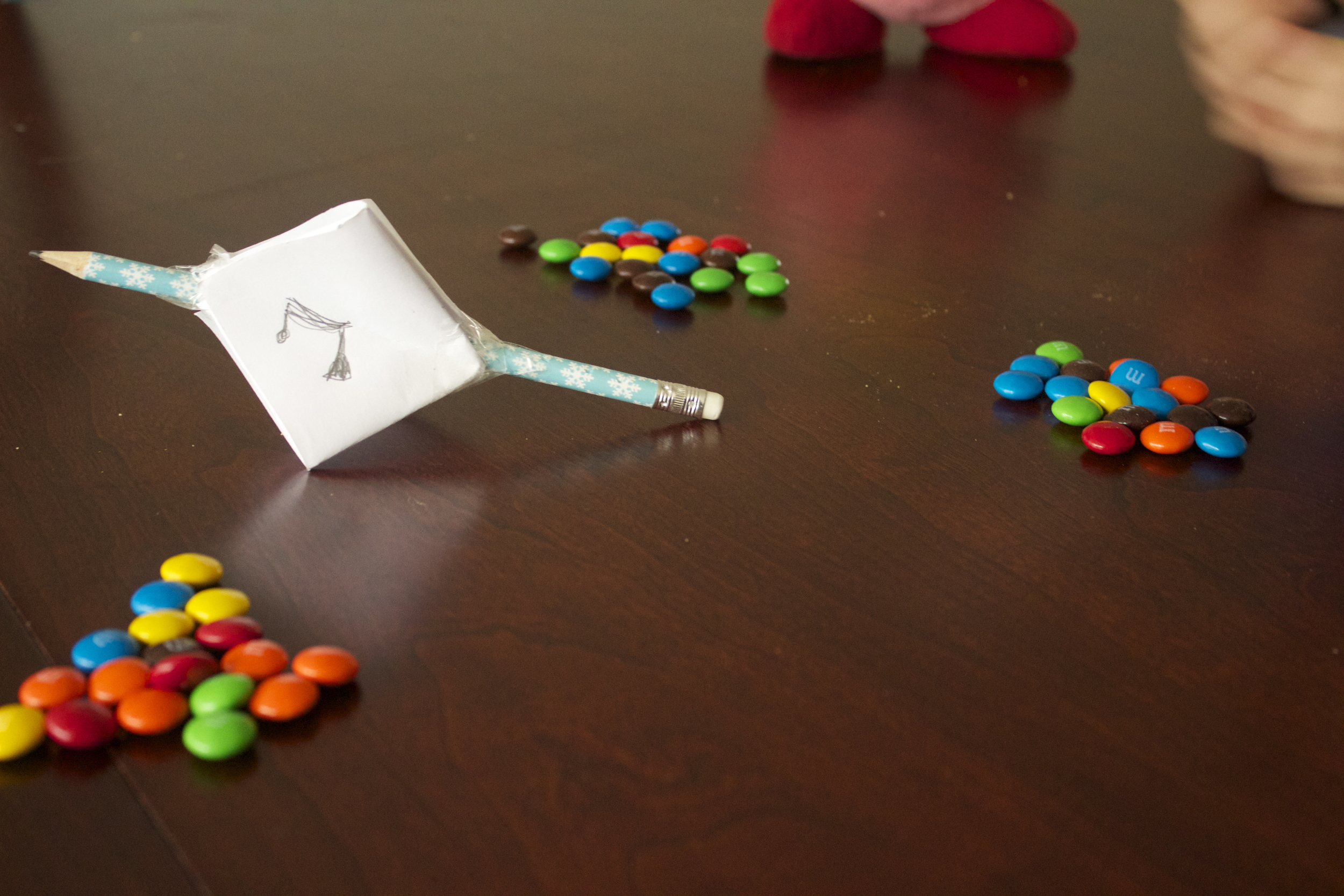 Grab the thing you will play with- we did the previously mentioned m&ms and play!