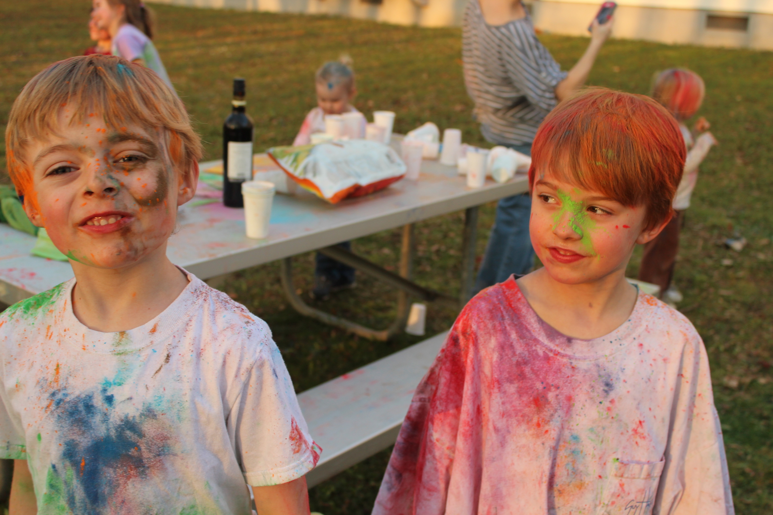 No blonde hair was harmed during this paint fight!