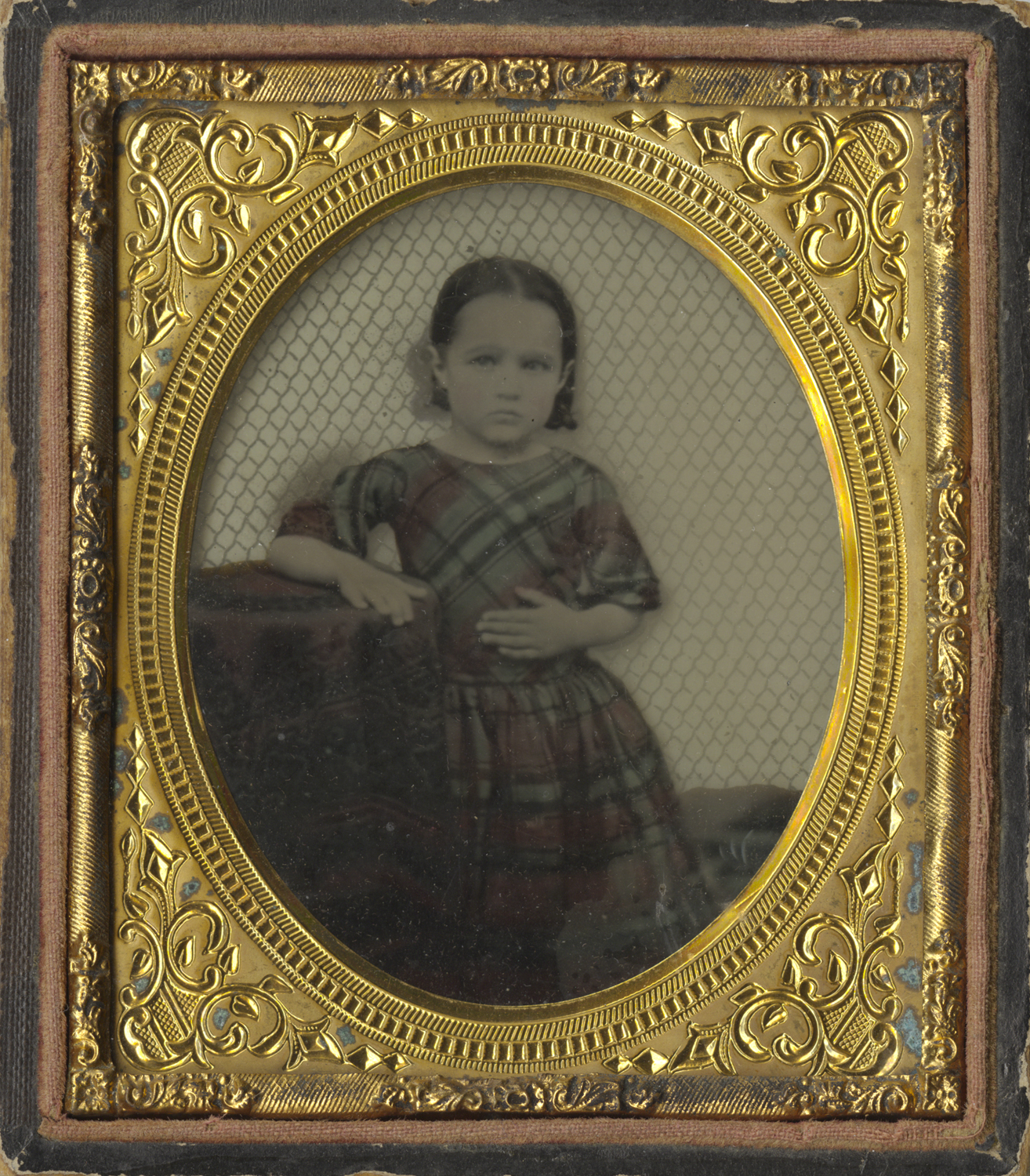 Portrait of a Young Girl in a Gingham Dress