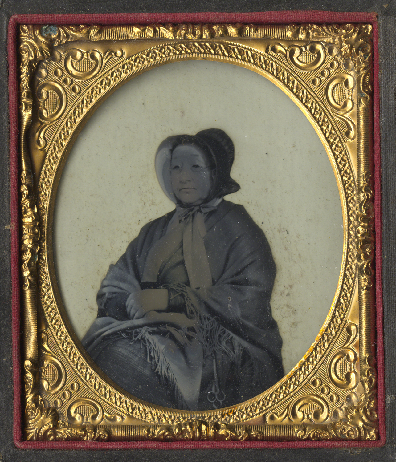 Portrait of a Woman Wearing Shawl and Bonnet