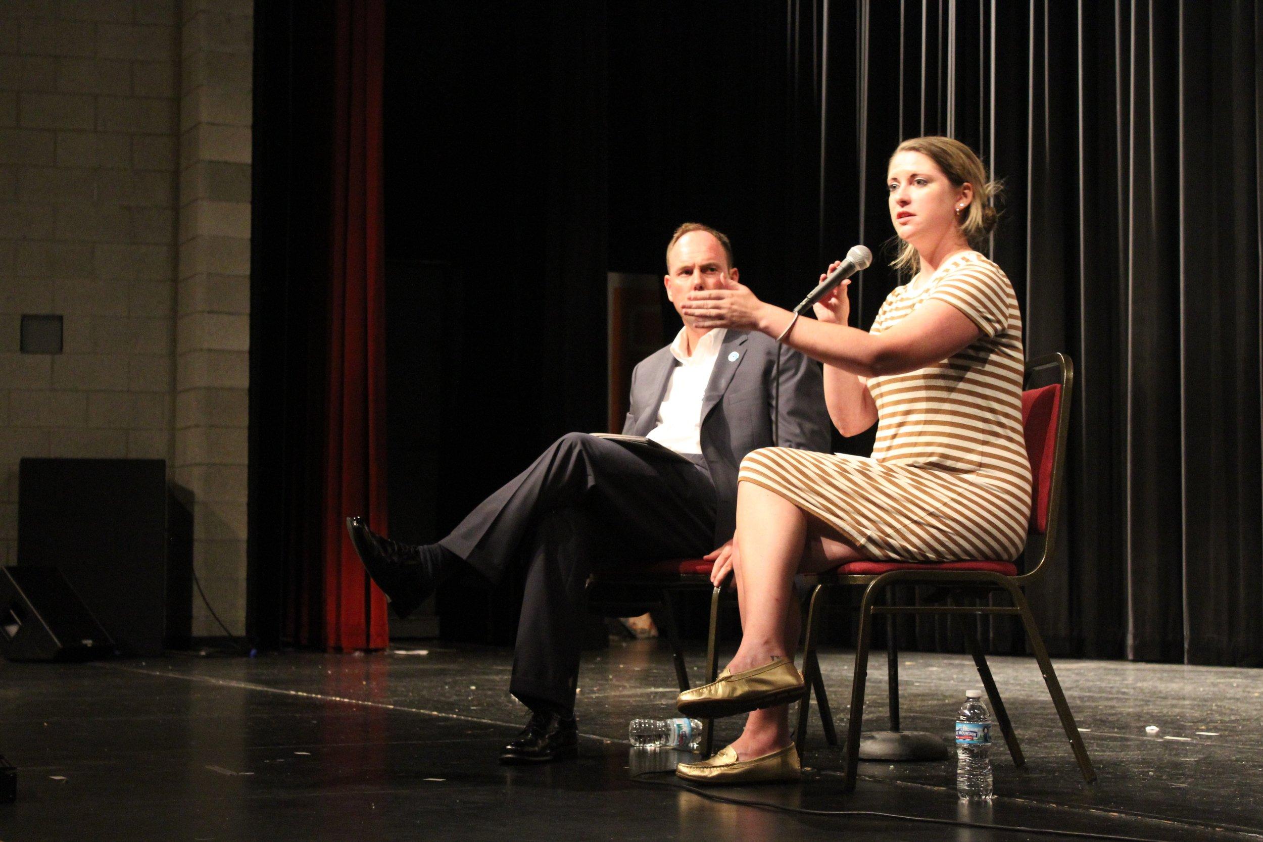 Annie Speaks alongside Alderman O'Shea at the screening in Beverly