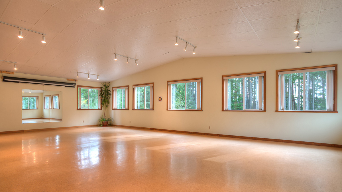Room 3      A bright expansive space ideal for yoga classes, fitness classes, dance classes, art classes, singing groups, small screenings, clubs, larger meetings and so much more. Room 3 comes equipped with tables and chairs as well as a kitchenette.