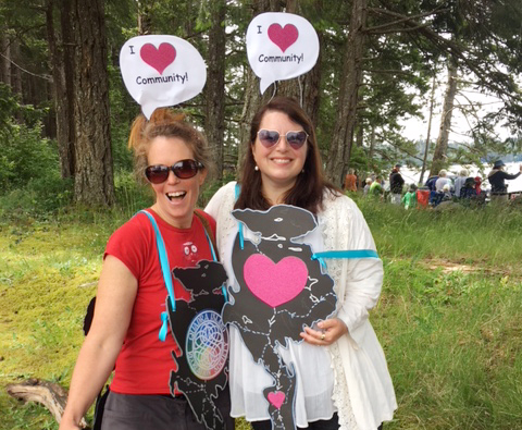 Q.C.C. Staff: Jane West  (Office Assistant -left)    Rebecca Young  (Executive Director -right)  *Pictured at Quadra Island's annual May Day Celebration, organized by Quadra Island Community Centre