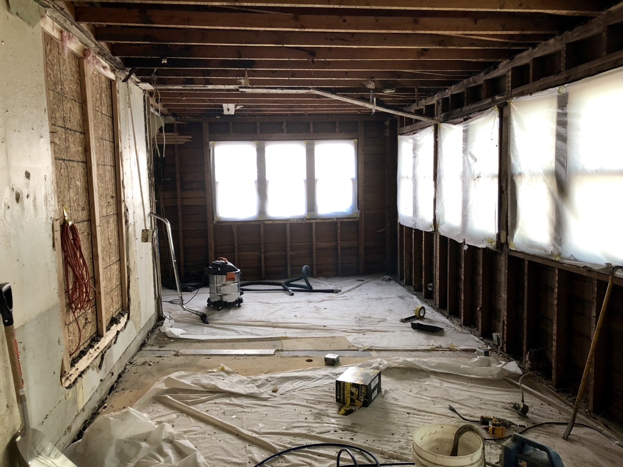 (the addition on the old house, post asbestos removal)