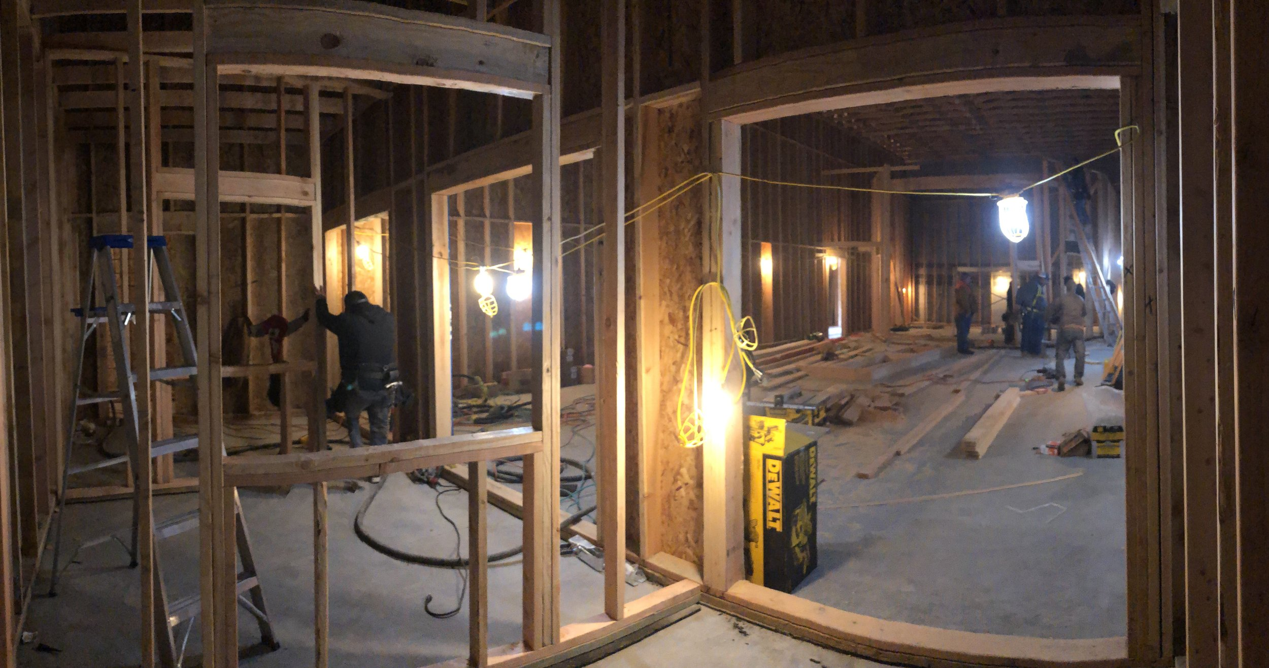 Looking out of one of the isolation booths into the other booths (left) and into tracking room 1 (right).