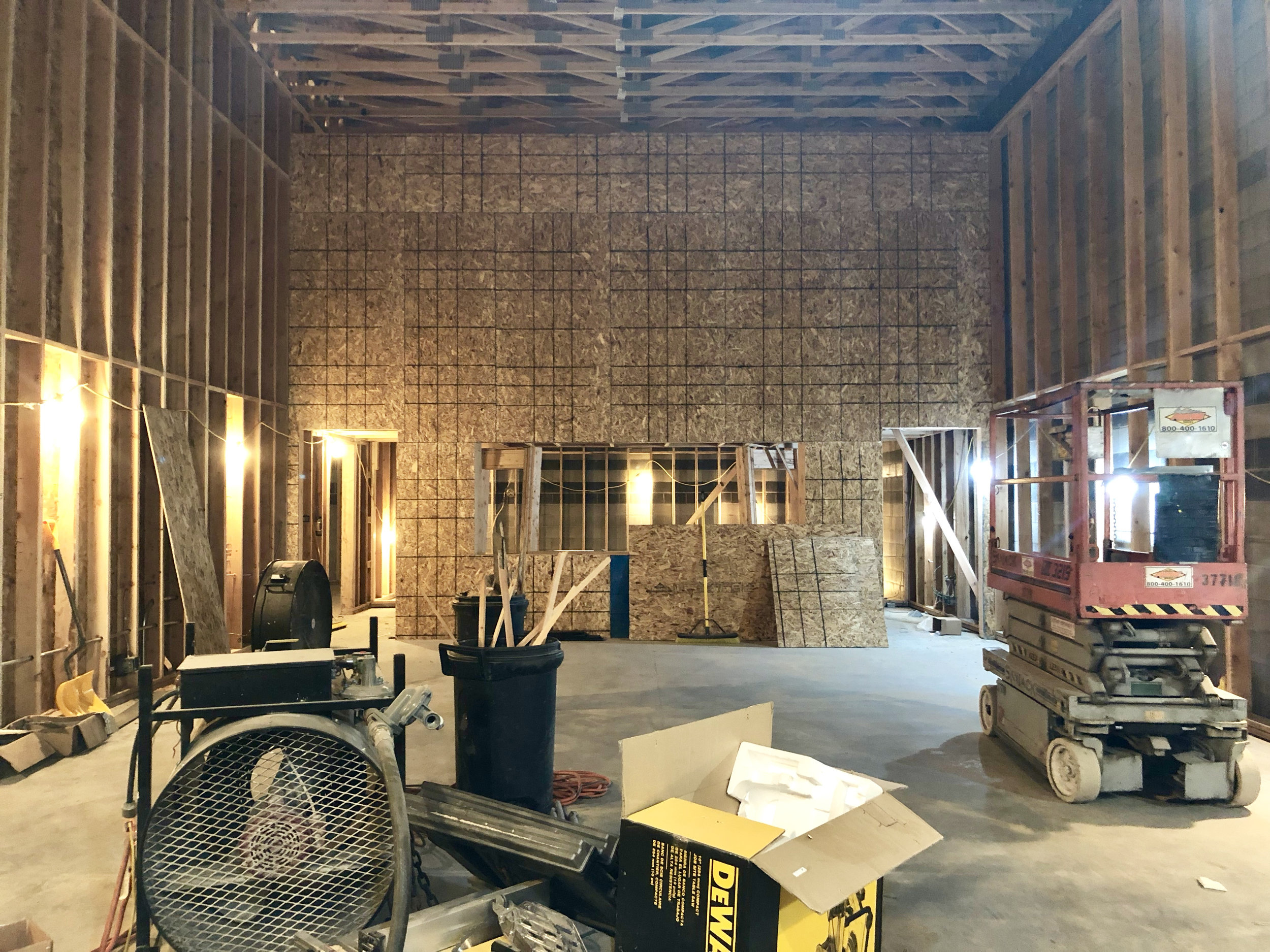 The south side wall of tracking room 1 was sheeted which does even more to show the size of rooms and how things will feel. In the center you can see the window into the control room.