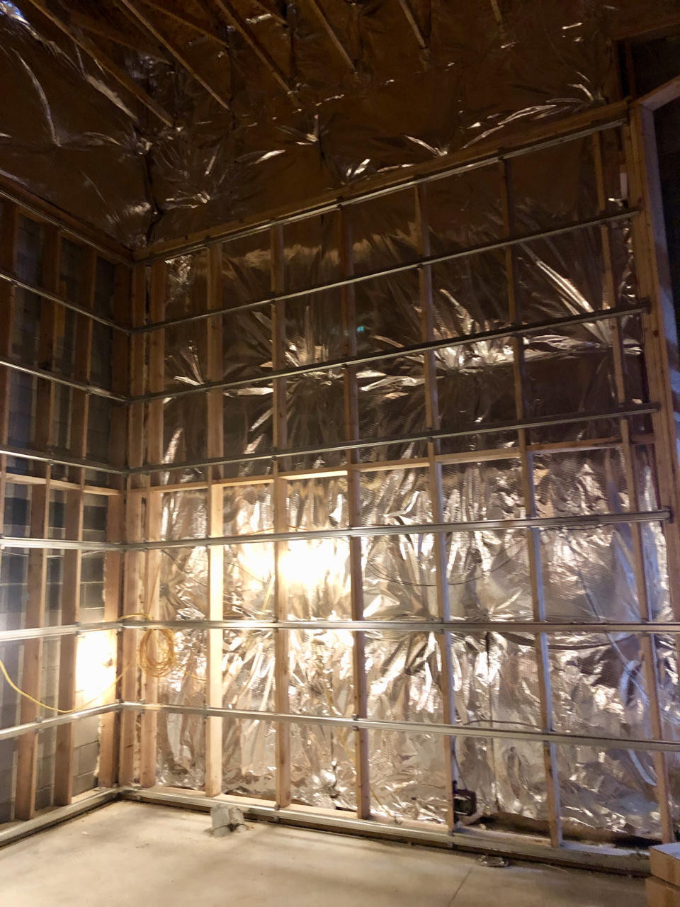 Insulation along the outer wall of control room 1.