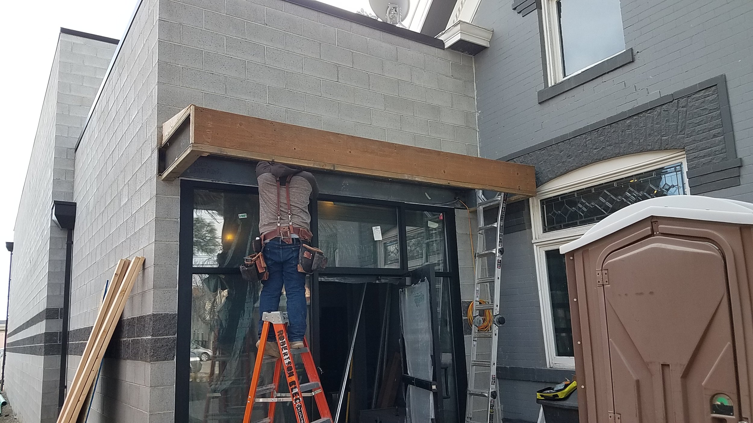 Our canopy out front was framed up this week as well.