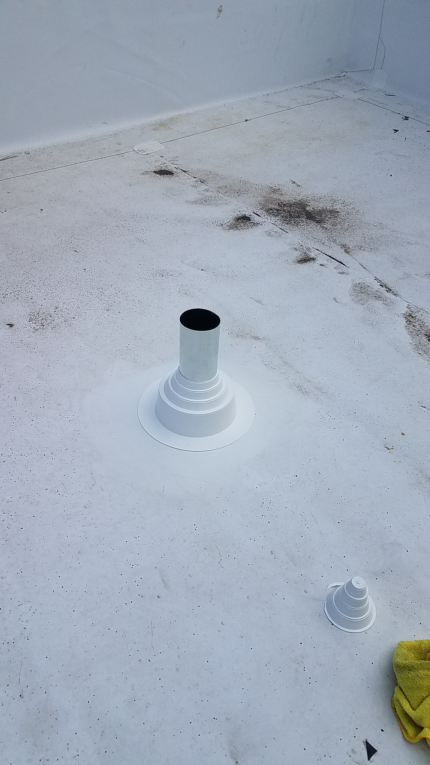 Penetrations were put into the roof for the HVAC lines and venting.