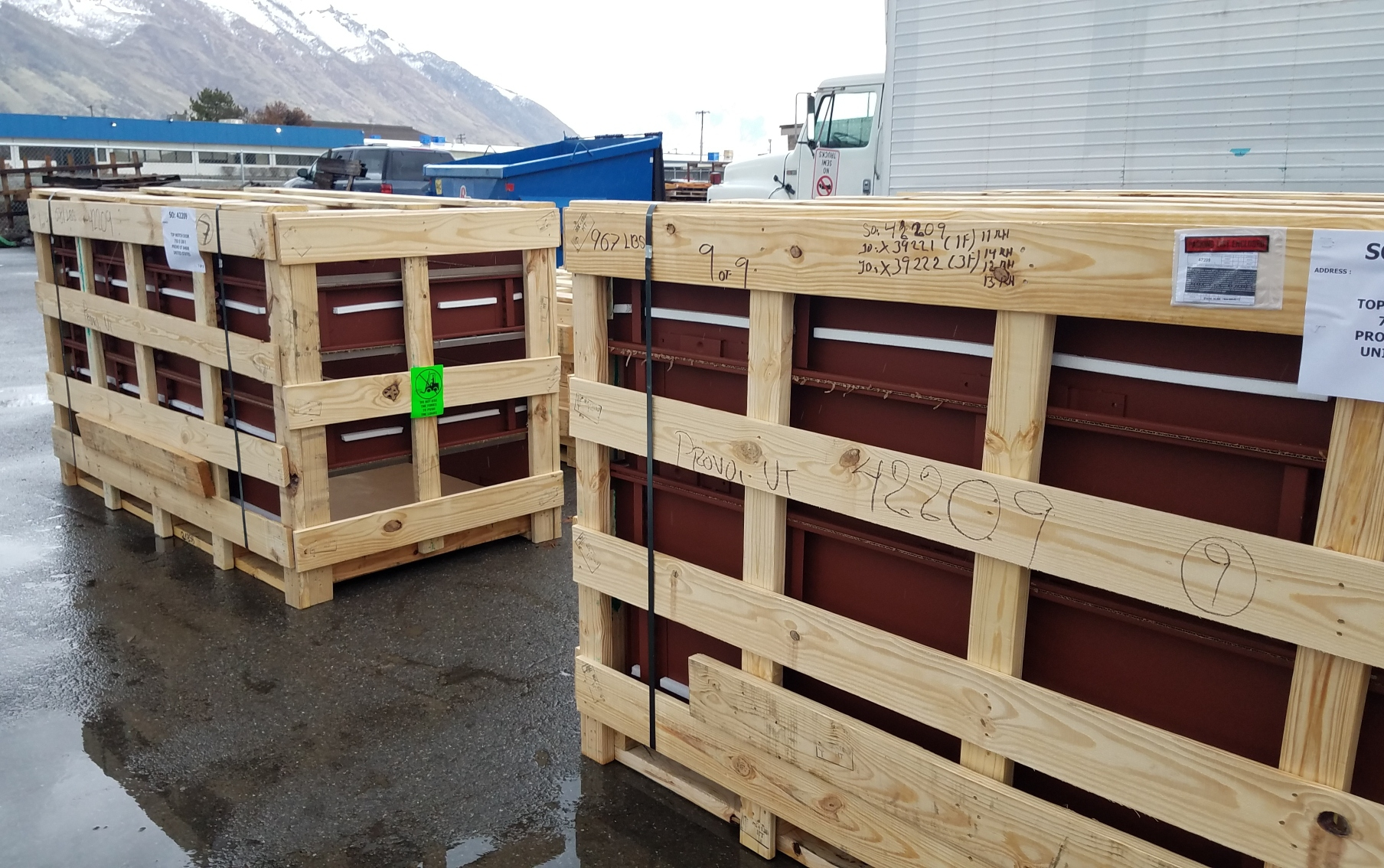 9 huge crates showed up with the Overly acoustic doors. The frames will be installed starting this week.