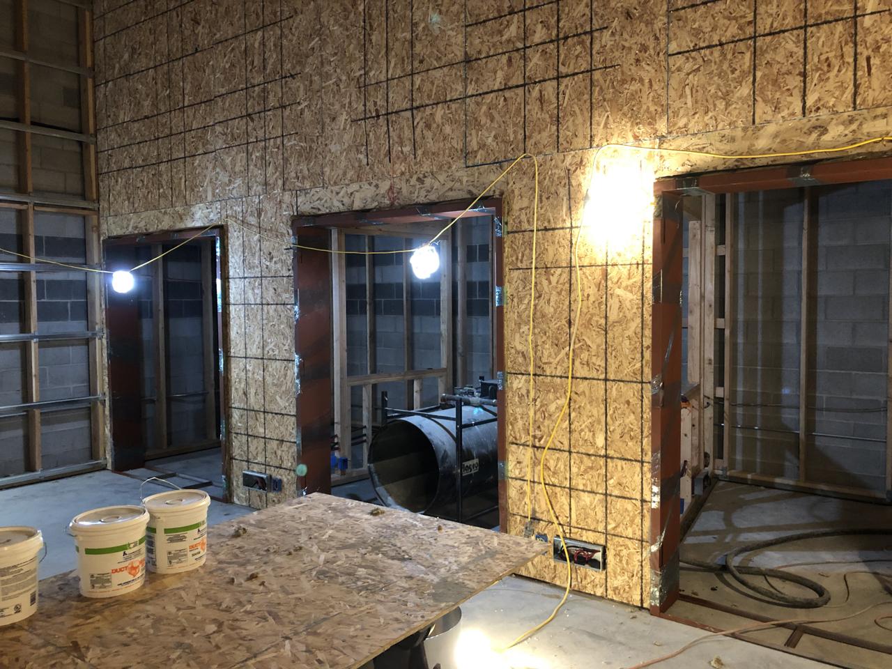 Studio 1 iso booths with door frames.