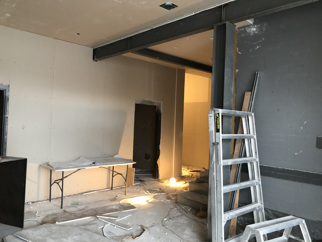 The lobby sheetrock is coming along as well as the studios. This is looking toward the bathroom and the hallway to the studios.