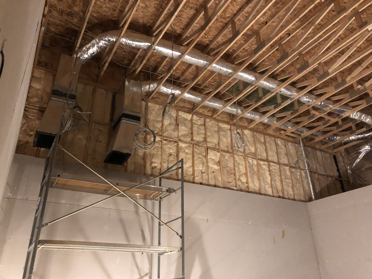 Duct work leading in to tracking room 2 with the smaller lines feeding isolation booth 2.