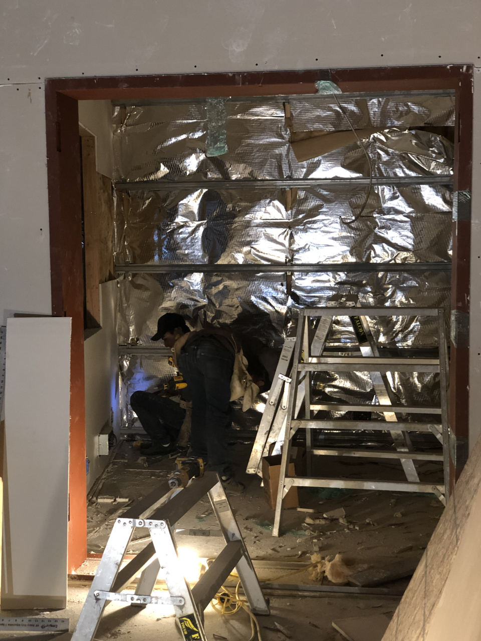 The drywall company ran out of iso clips twice and they can be a bit tricky to come by.  Once the second shipment arrived the final track was installed in the isolation booths of studio 1 allowing the final sheetrock to be hung.