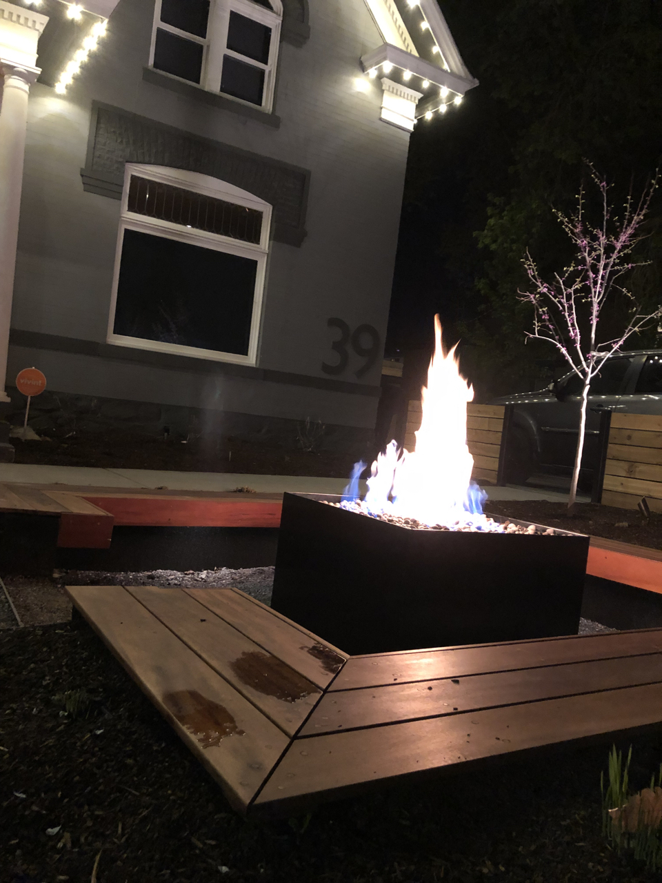 We got the fire pit up and running along with the lights on the house.