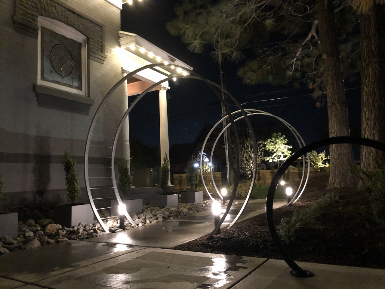 The trellises, the bike rack and the landscape lighting really came together to make the yard look great. It might not make a lot of sense to some to do this much outside of the studios, after all it could be hard to draw a line between landscaping and great recordings, but the truth is that I want people to expect something extra from our studios as well as know that they are entering a place that really cares about every detail. I also think/hope that clients who spend a lot of time here will appreciate some outdoor spaces to retire to after being in the studio for hours on end.