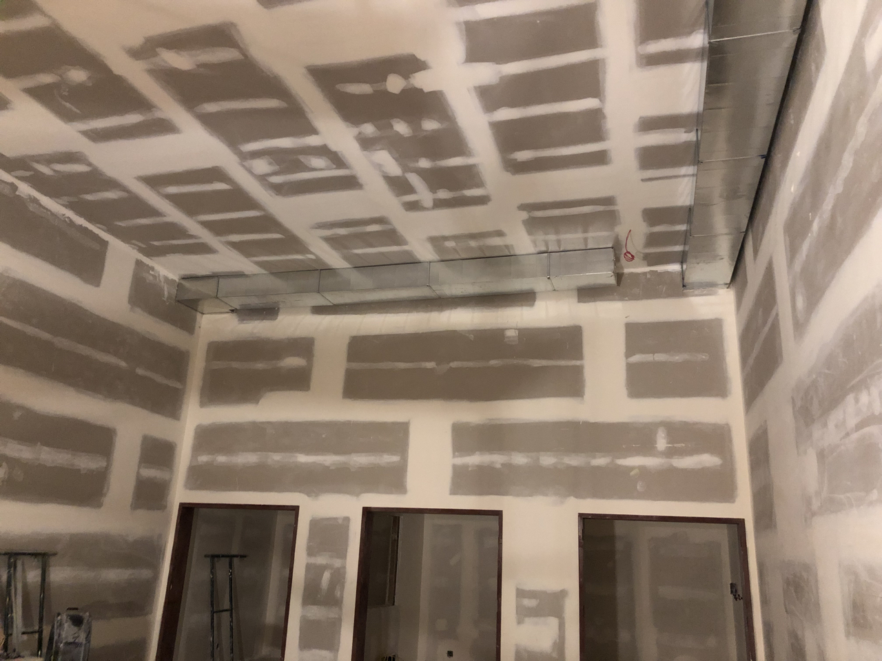 Tracking room 1's ceiling finished and duct being run.