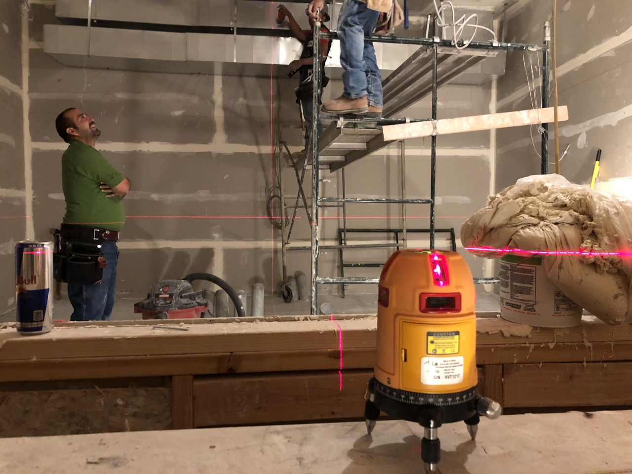 Tuesday morning began with setting the laser to find the center line of studio 2 and start pulling measurements for the control room soffit.