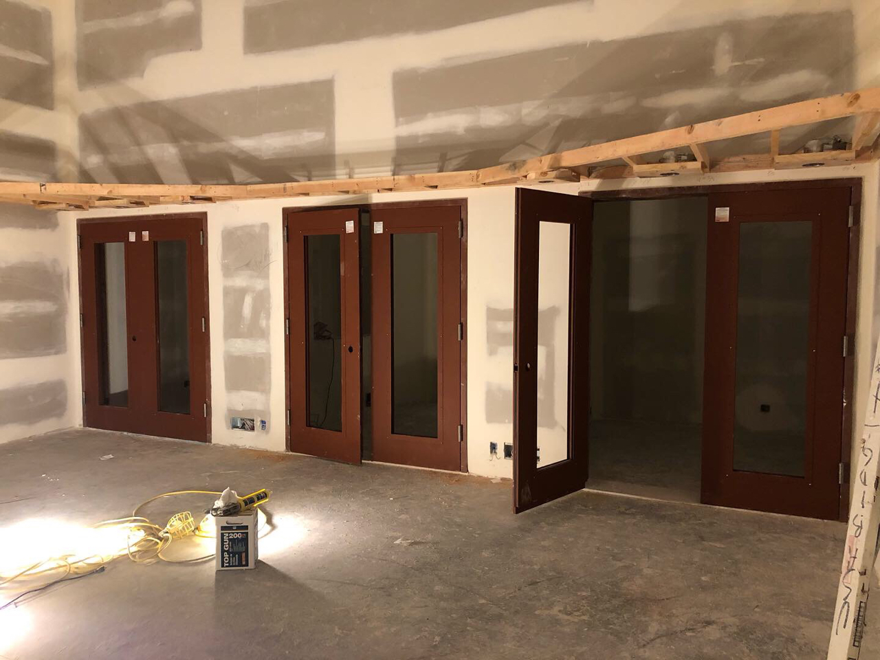 Doors hung for the booths in tracking room 1.