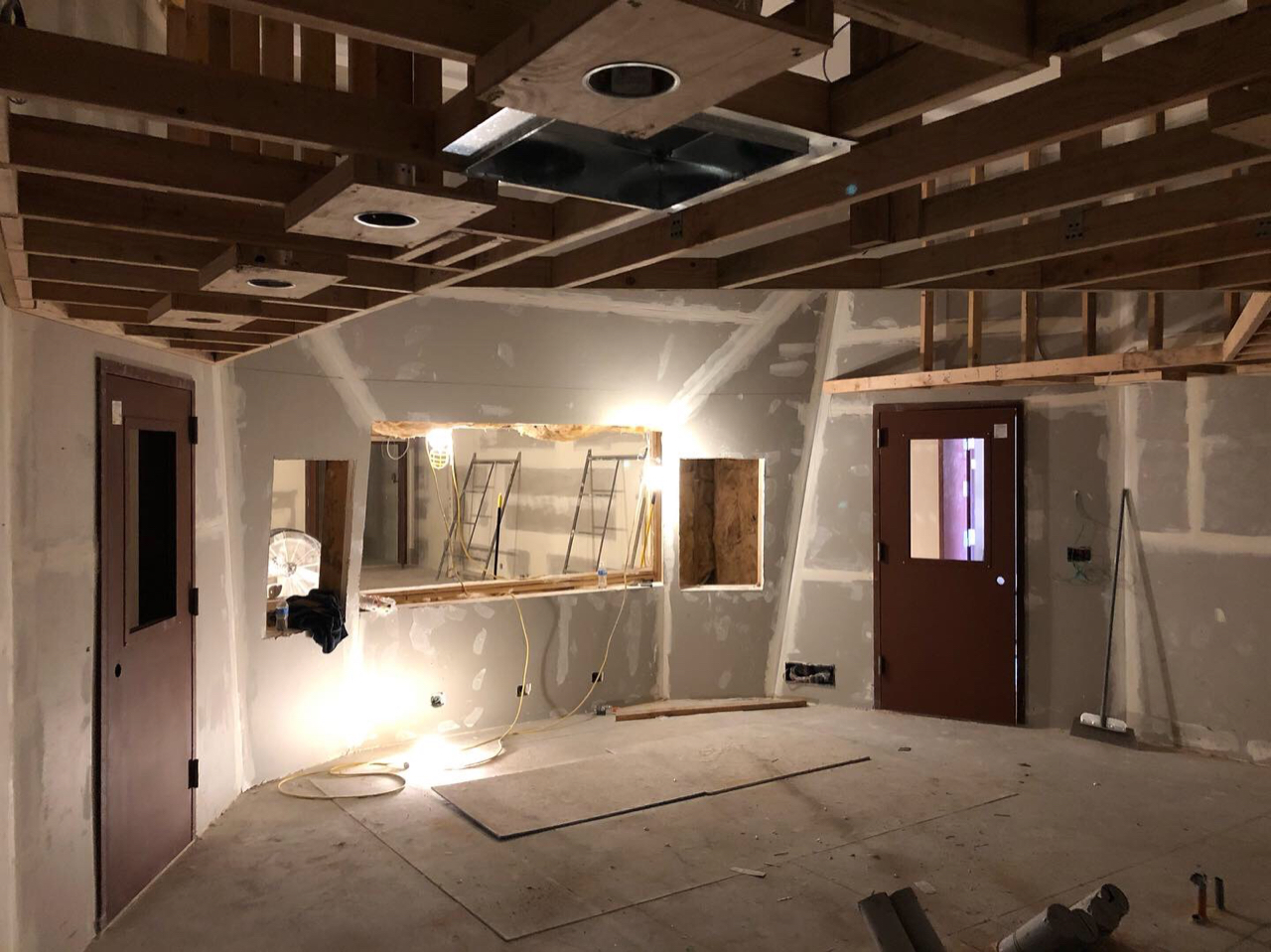 Control room 1 with finished soffit and doors hung. At this point doors are hung through studio 1.  Studio 2 doors will be hung tomorrow.