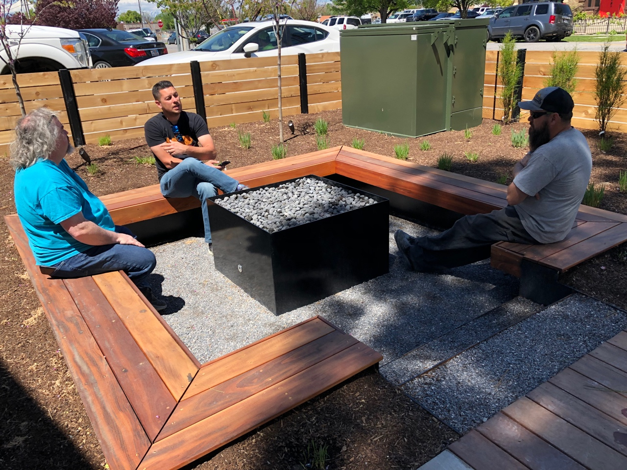 The fire pit area has been a great place for gathering and talking.  Here Tony, Nick (contractor) and Jared (superintendent) plan the next few weeks and what needs to be completed before Tony's final trip.