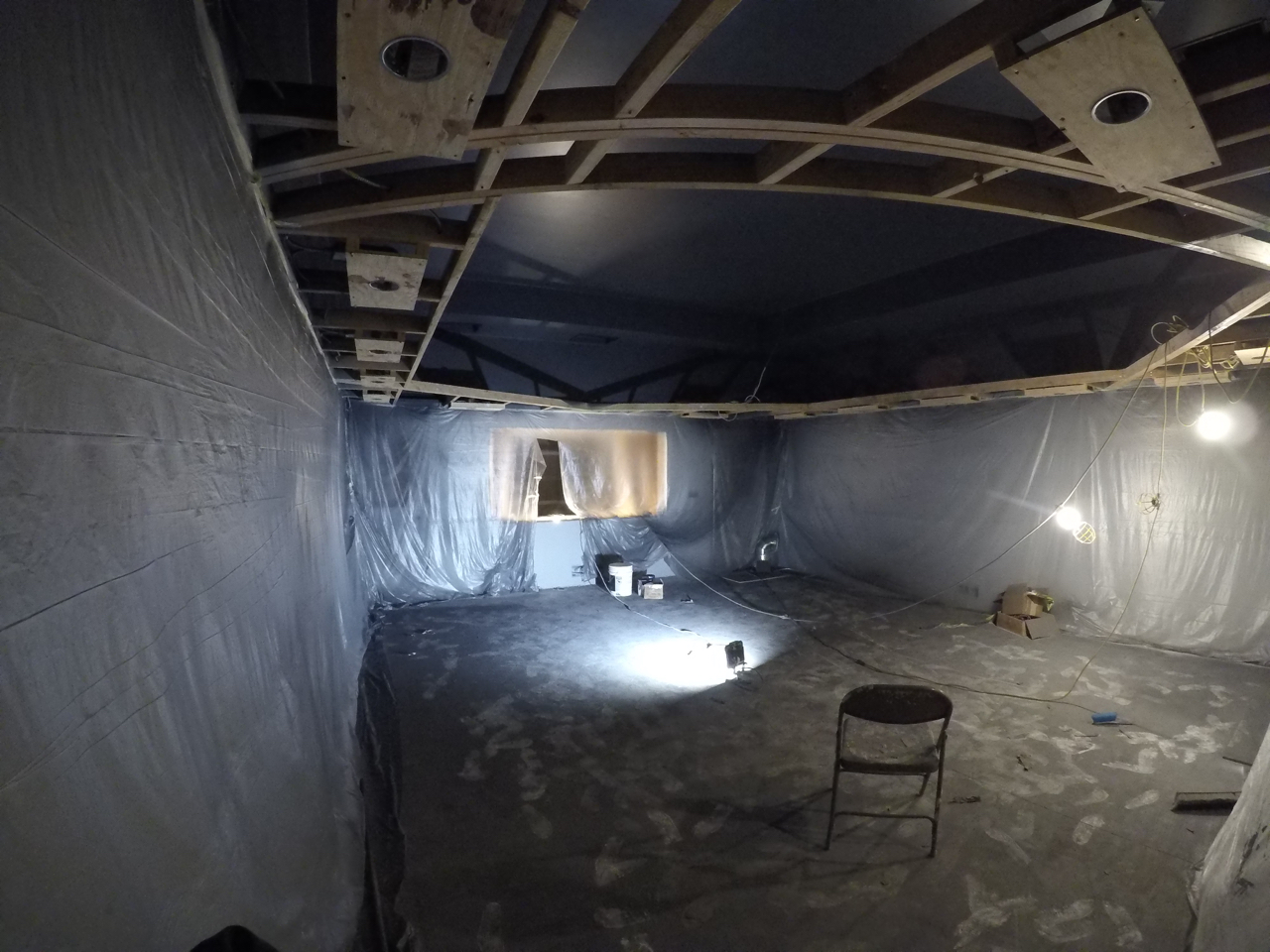 Tracking room 1 will be much darker in color. Here the ceiling and above-soffit wall are painted, the walls below the soffit will be painted tomorrow.