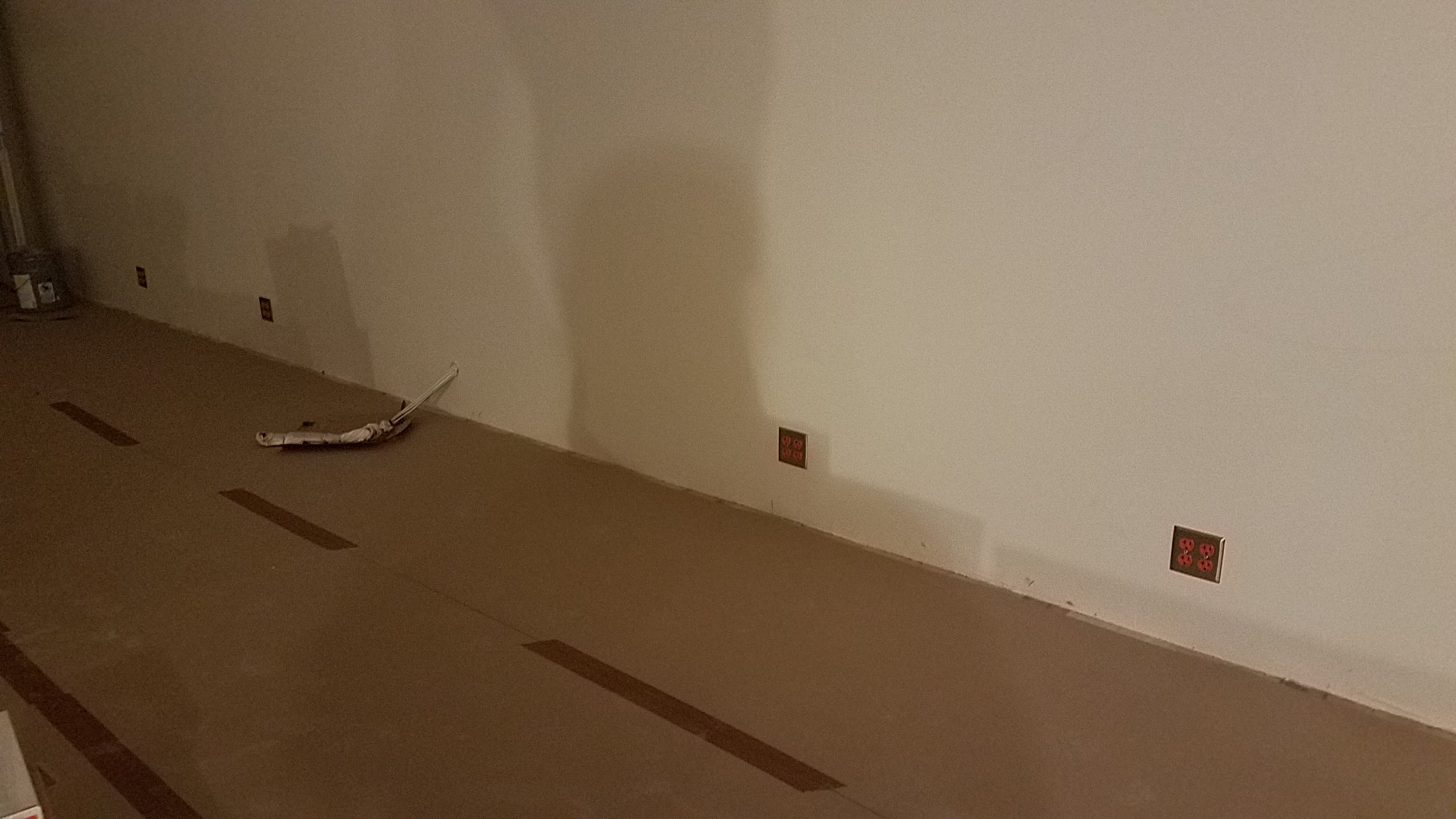Isolated ground outlets going into tracking room 1. You can also see the audio lines coming out of the wall waiting for the mic/tie line box to be built.