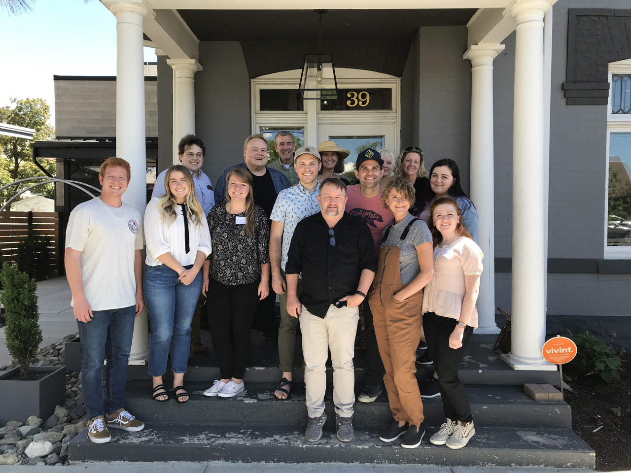 This is most of the crew from the session - not the studio crew but the podcast crew as well as comedian Louie Anderson who was flown in for the recording.