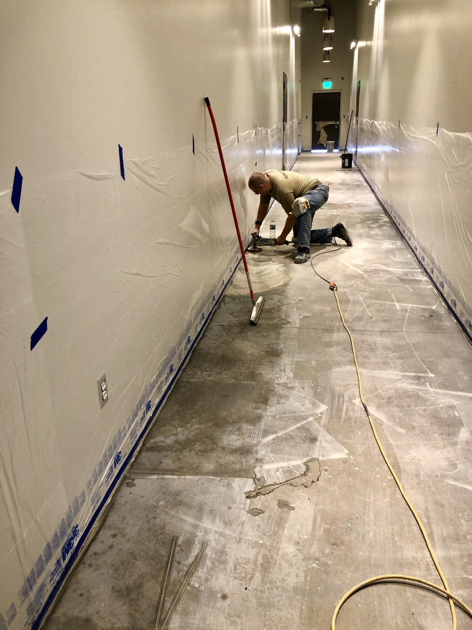 The concrete floors in the common areas of the studio were polished this week.