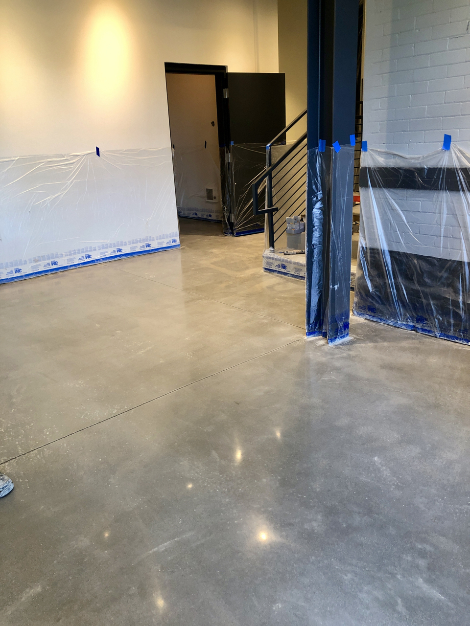 The lobby with finished floors.