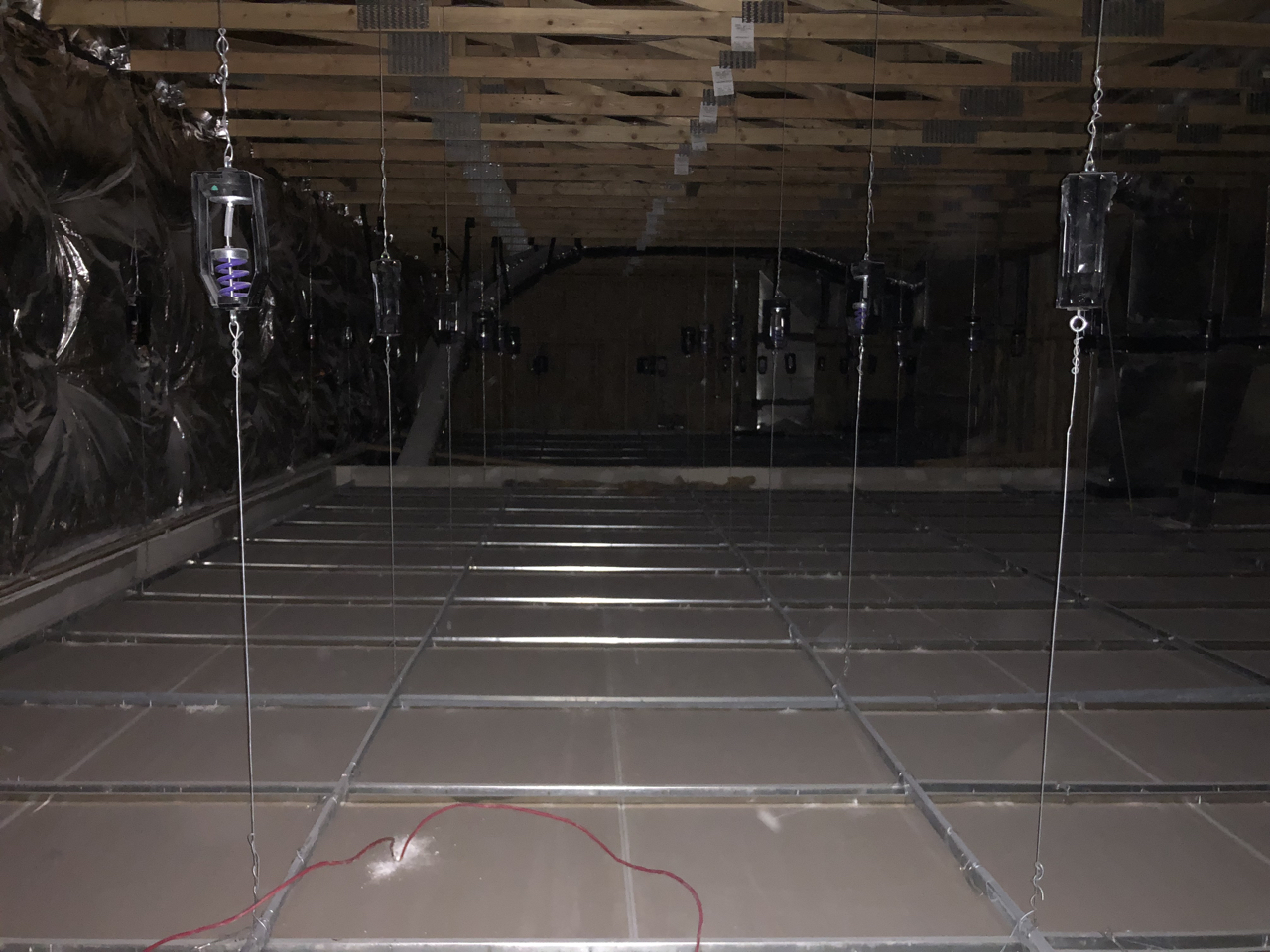 I was up in the space above the studio 2 iso booth and thought it was really interesting to see the studio 2 ceiling hung on the spring isolators from this side.