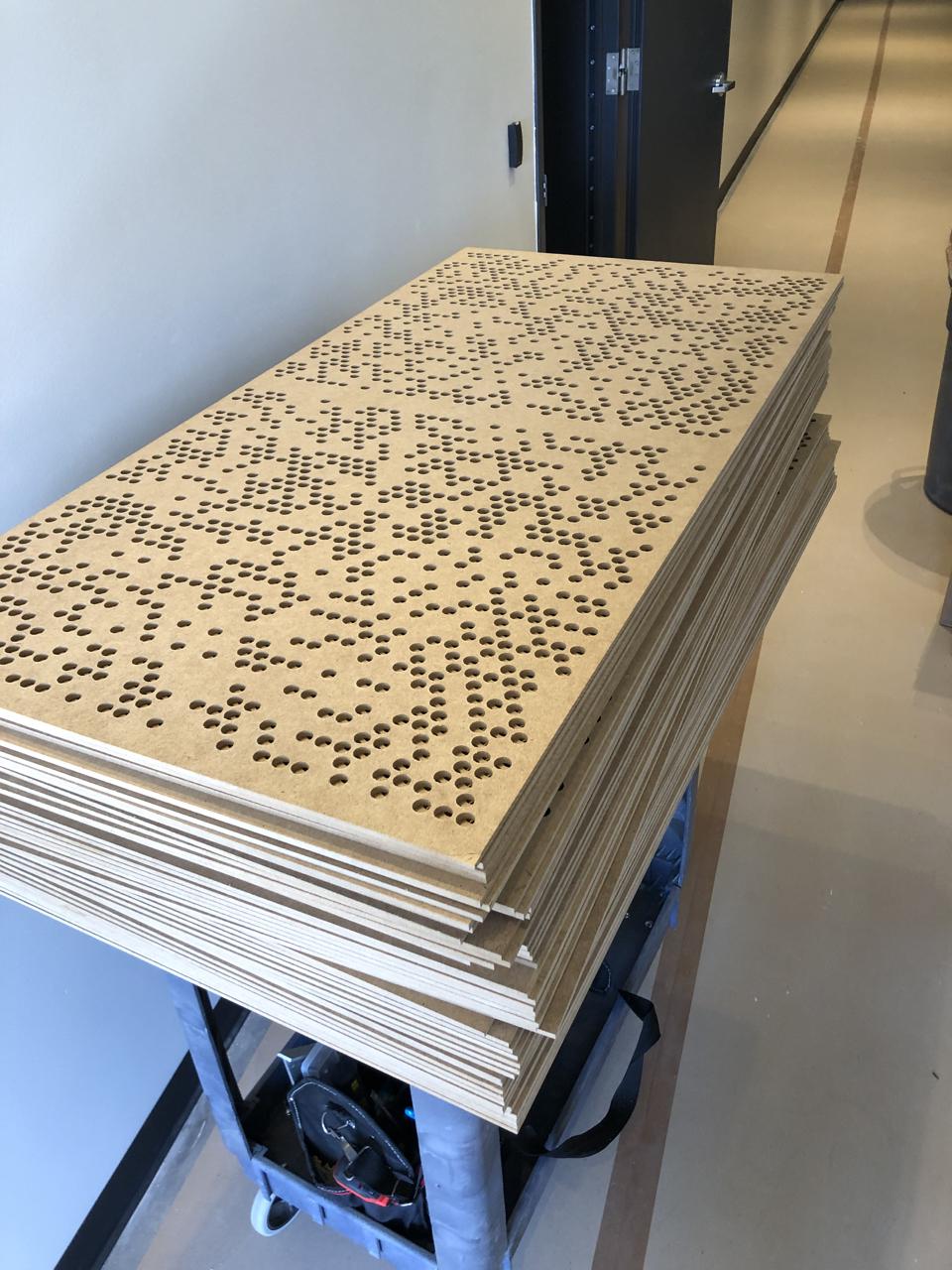 Stacks of diffusion panels.