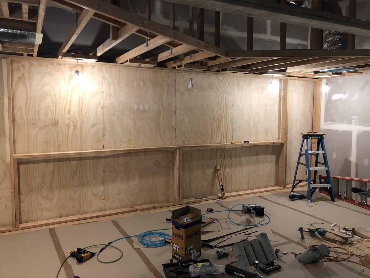 Framing for the custom built Brett Acoustics/Wes Lachot Design Slatfusors.