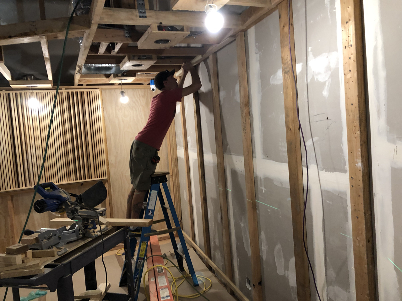 Framing for the side wall treatments in control room 1.