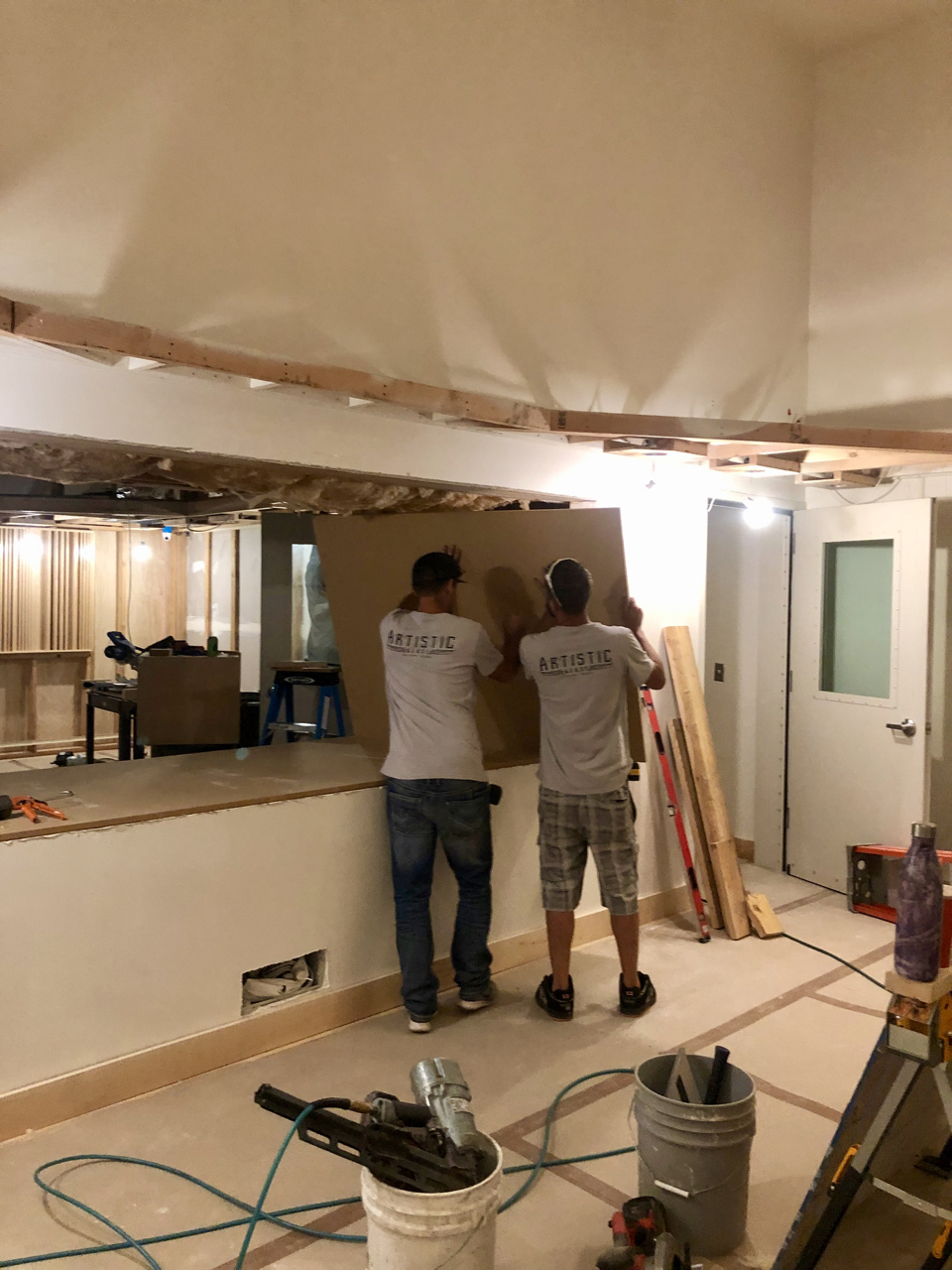 Beginning to build out the window between control room 1 and tracking room 1.