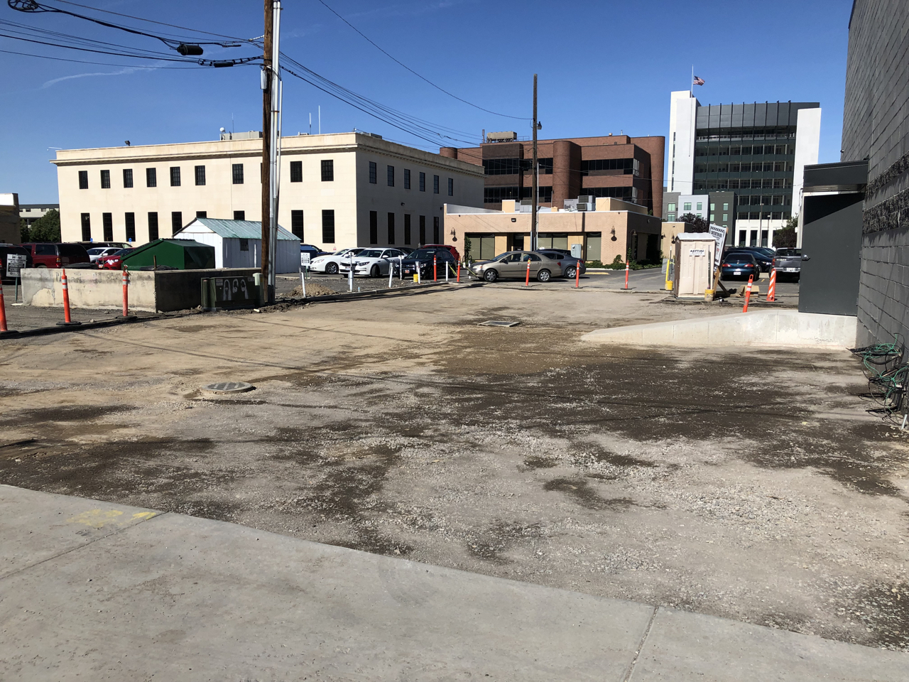 The rear parking area has been prepped and is ready for asphalt.