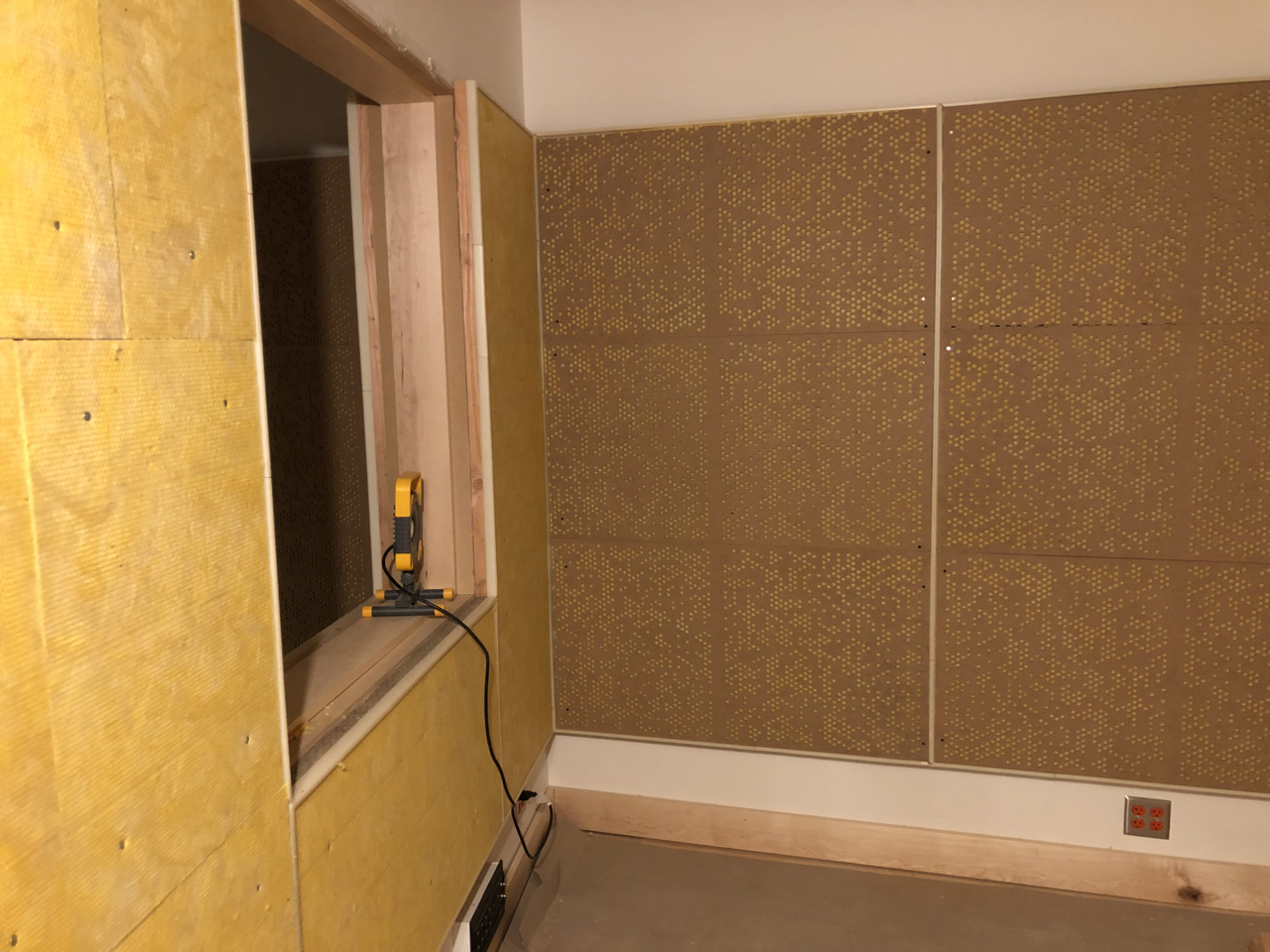 This booth is ready for fabric now, two walls are absorptive and the rear wall is both absorptive and diffusive.