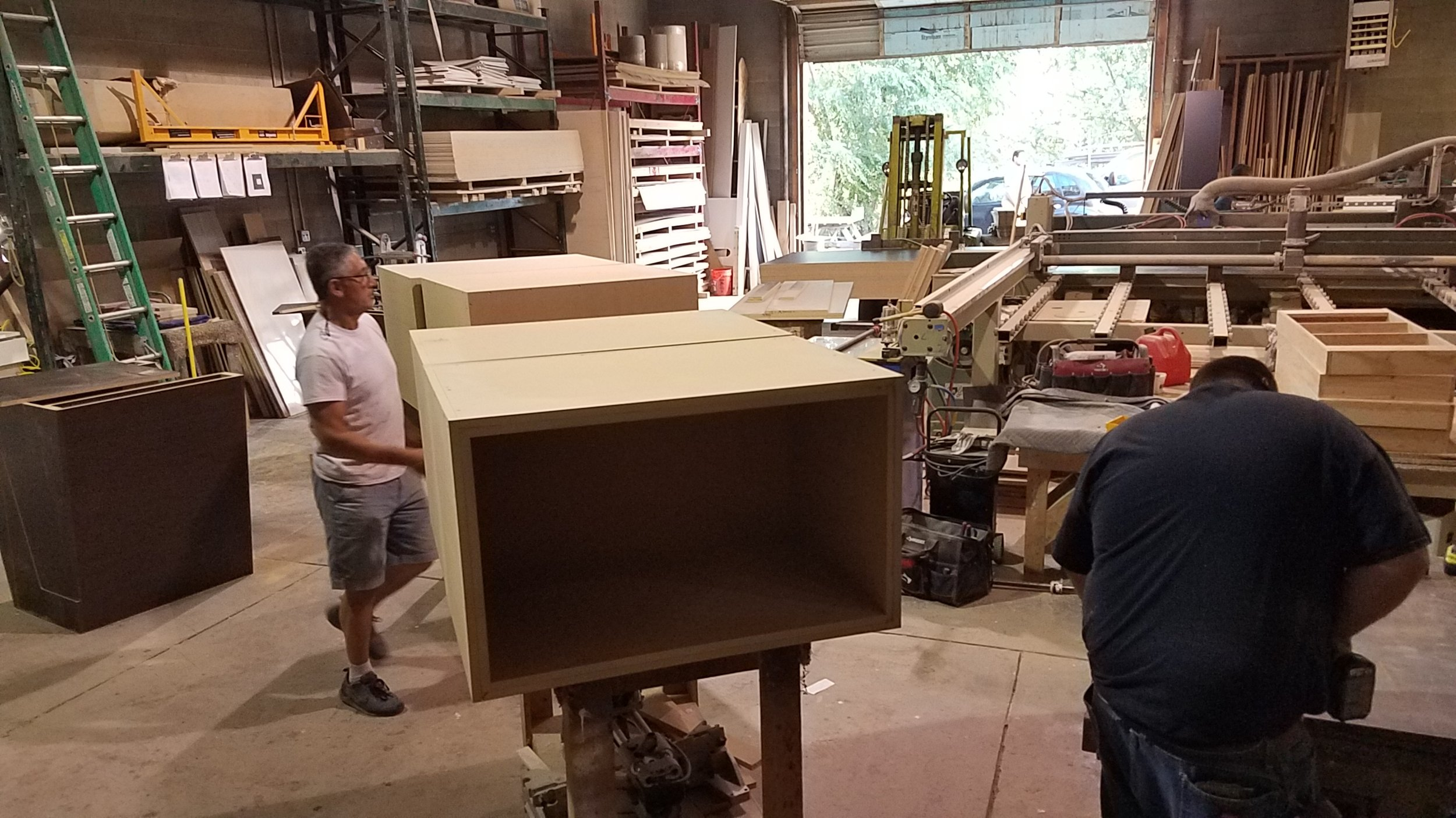 A local cabinet shop was hired to build our speaker soffit boxes which are huge and really heavy.