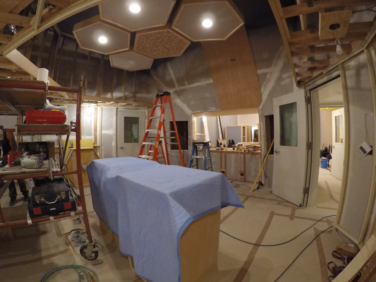 The cloud in control room 1 is missing two pieces, they were left off to allow room to work while installing the birds-eye maple front wall.
