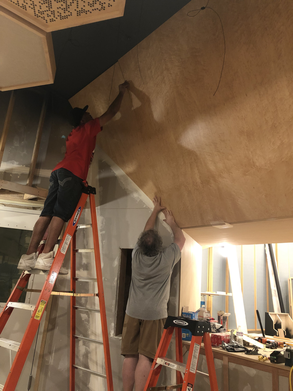 The 4th birds-eye maple panel being installed in control room 1. Great precision is needed to cut this really expensive wood at such crazy angles. Tony Brett and his crew have definitely earned their reputation as excellent craftsmen.
