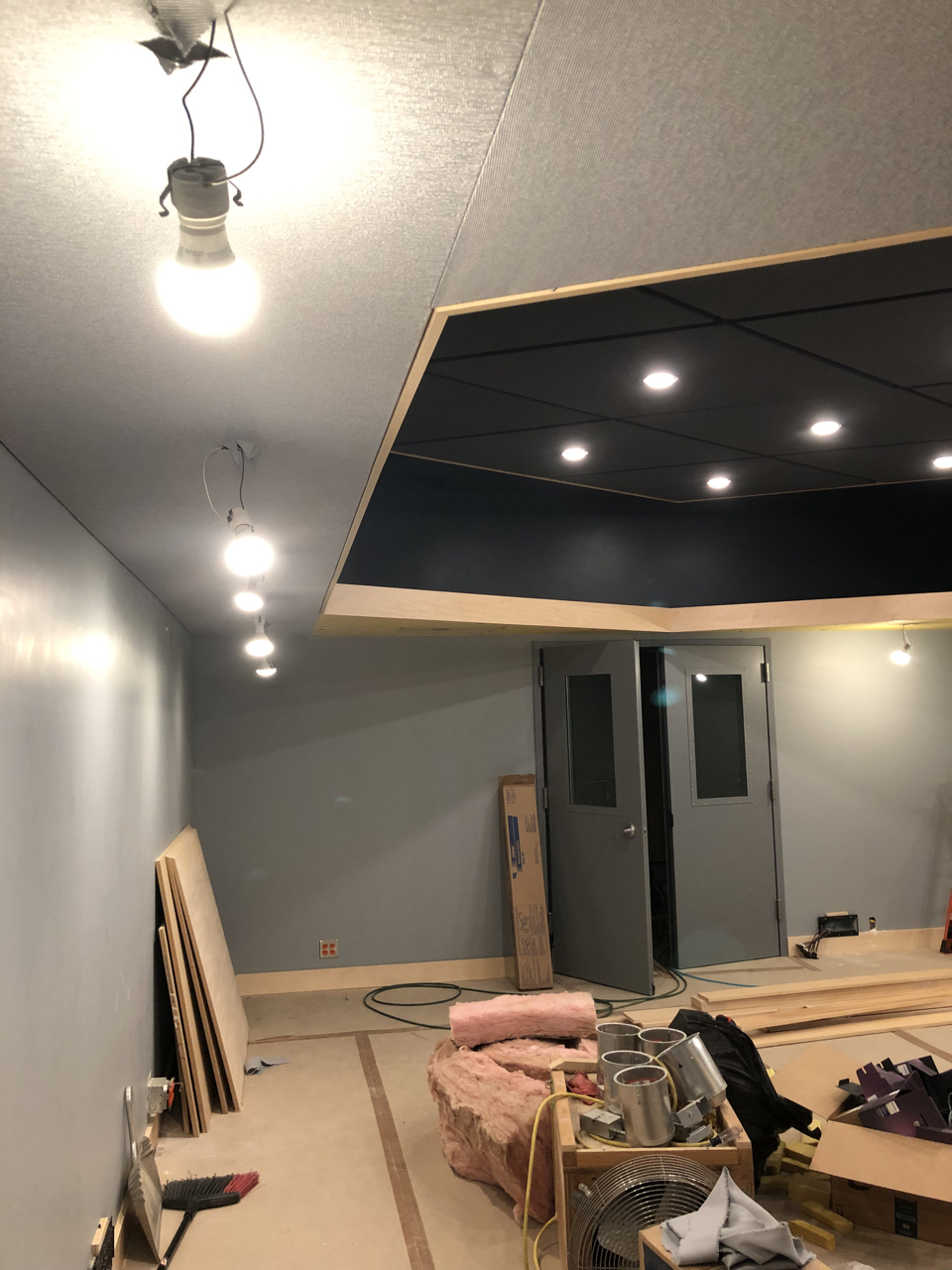 Fabric in the soffits of tracking room 2 as well as the finished cloud.