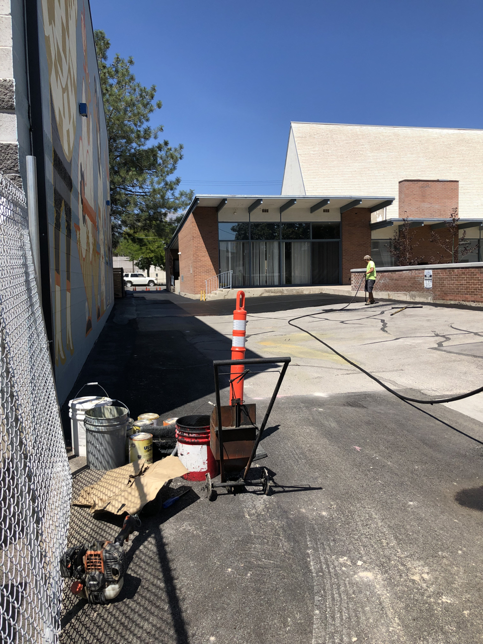 We had the alley alongside the studio, and the parking for the church next door resurfaced as a thank you for letting us use their parking occasionally during construction and dealing with all the disruption.