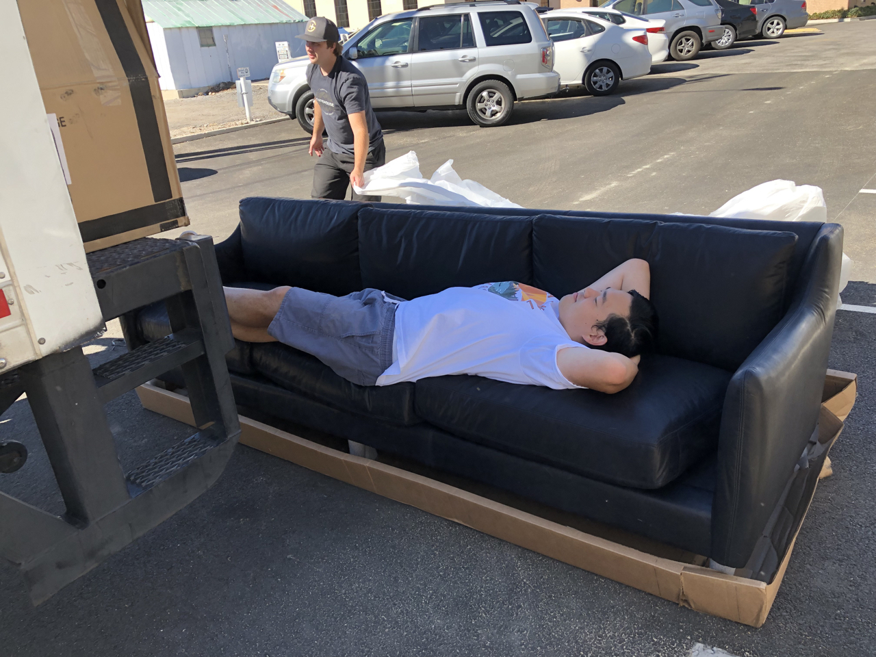 Months ago we ordered a custom leather couch for studio 1 and when it arrived Ryan had to jump on and try it out.