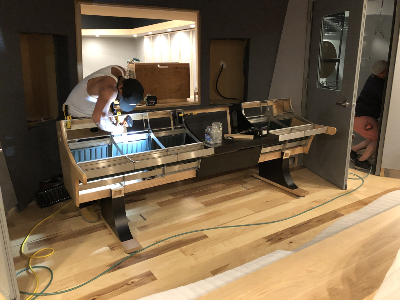 Assembling the beautiful custom made desk for our Daking 1112 console.