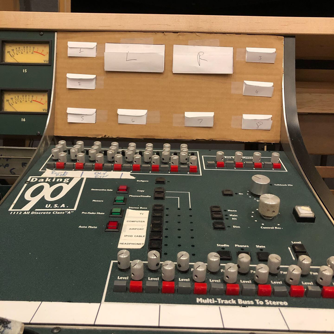 We added a center producers desk to the console, but we had to lose one of the buckets that used to house 8 compressors in order for the console to still fit in the room. This means we have to consolidate the master meters to one panel instead of 2, hence the cardboard mockup.